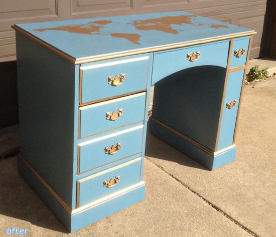 blue_gold_map_desk_makeover