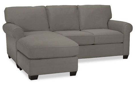 The Buchanan Chaise Sofa In Flagstone, The Color We Ordered In, Via The PB  Website